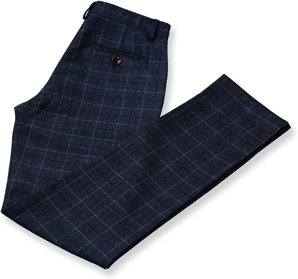 Mens 3 Piece Check Dress Suit One Button Blazer Slim Fit Jacket /& Vest /& Pants