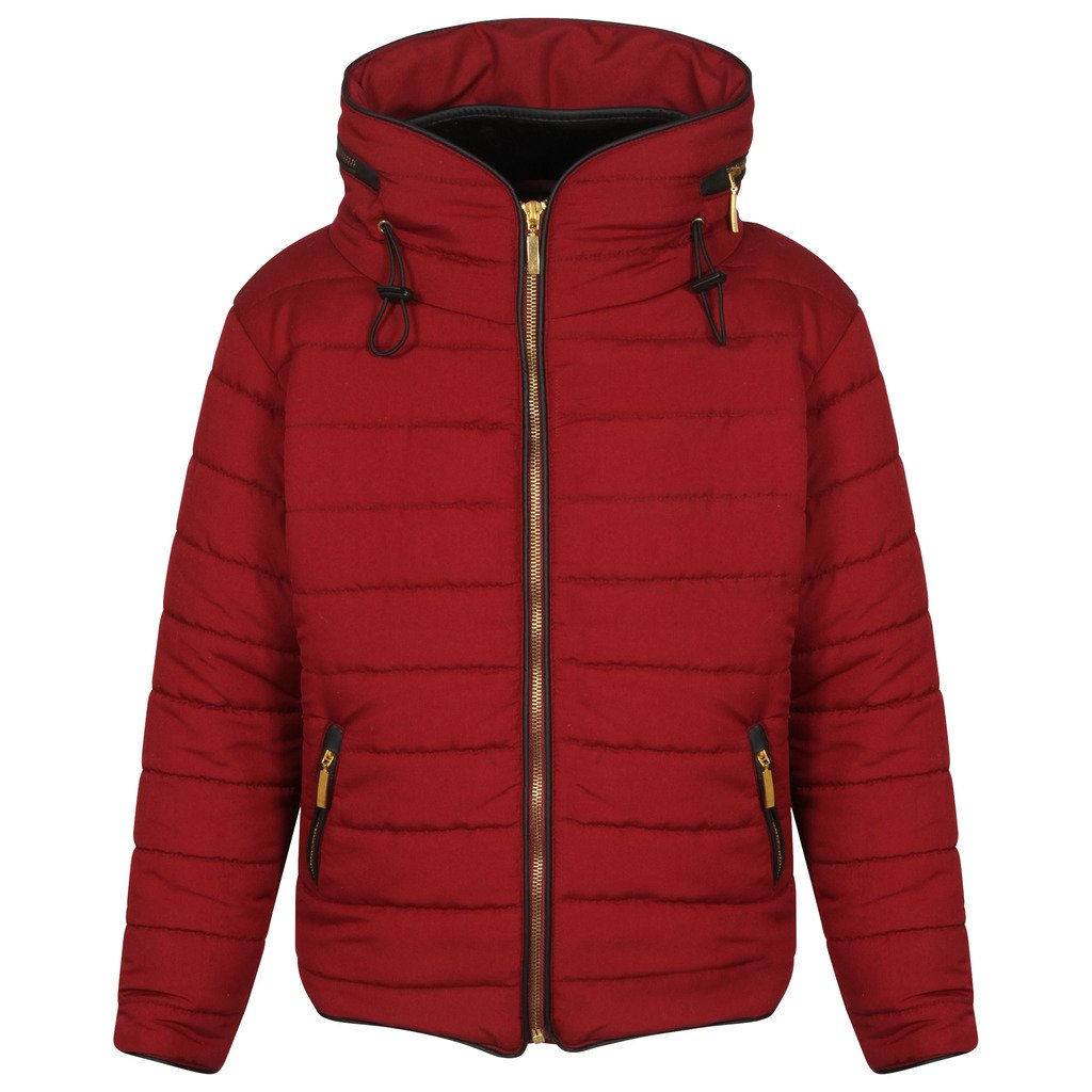 Generic Unbranded Girls Quilted Puffa Padded hooded Gold Zip Bubble Collar Warm Thick Jacket