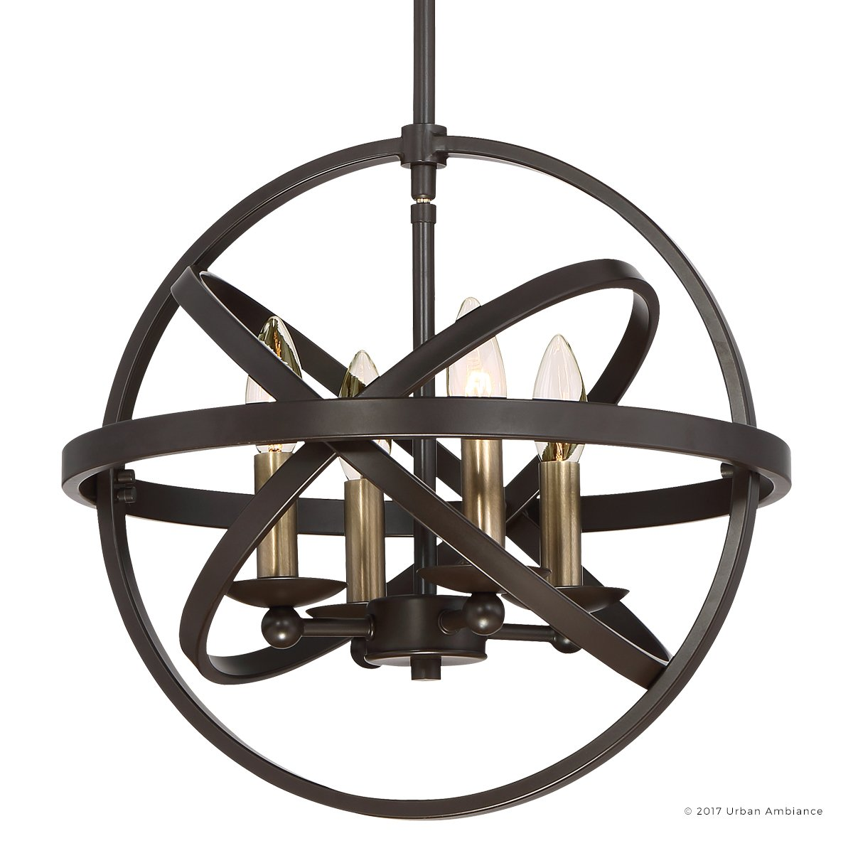 Luxury Vintage Chandelier, Medium Size: 14.25''H x 15''W, with Transitional Style Elements, Sphere Design, Brass Accented Elegant Estate Bronze Finish and Open Circles Shade, UQL2303 by Urban Ambiance