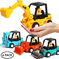 Construction Toys 4 Pack Set with Excavator, Bulldozer, Road Roller, Lift Truck...