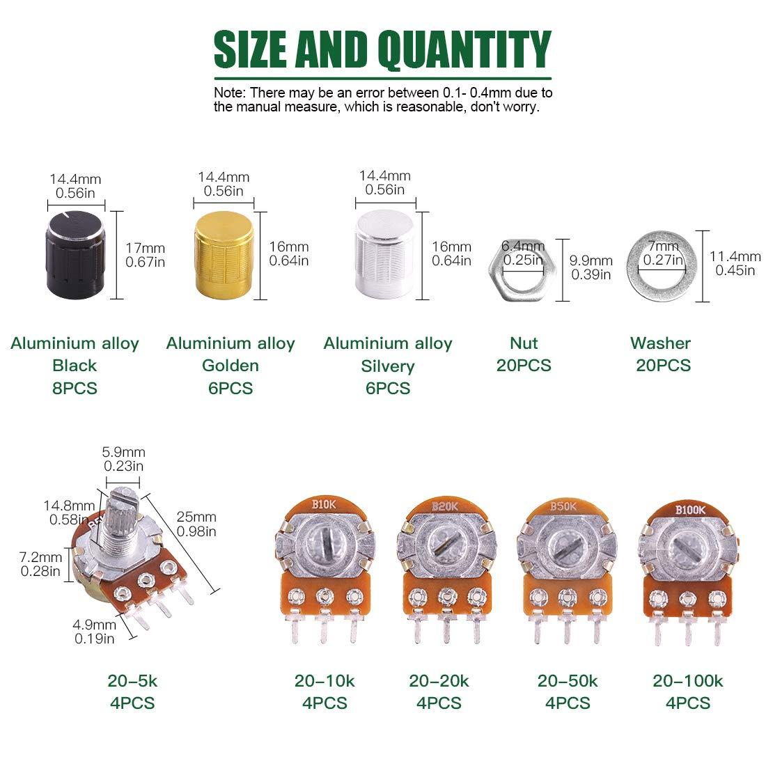 Keadic 40Pcs Knurled Shaft Linear Rotary Taper Potentiometer 5K-100K Ohm Assortment Kit with 3 Colors Knob WH148