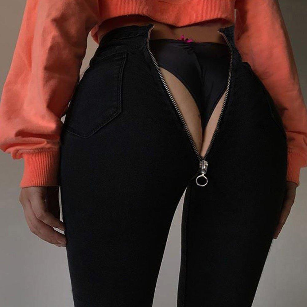 WEUIE Women Back Zipper Pencil Stretch Skinny Denim Pants Jeans Legging Black Blue Jegging High Waist Trousers