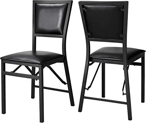 Folding Chairs with Padded Seat and Back Metal Dining Chair PU Covered Portable Home Restaurant Furniture Set of 2