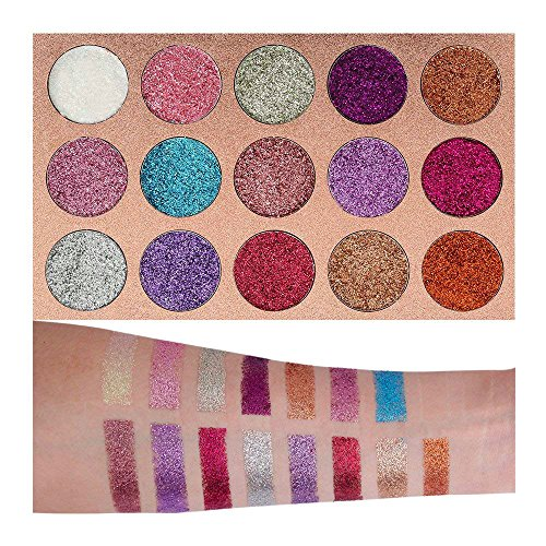 Beauty Glazed Pigmented 15 Colors Glitter Eyeshadow Palette Shiny Mineral Pressed Powder Eyes Long Stay On Make Up Eye Shadow Shimmer Palettes