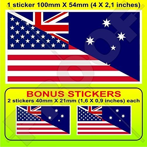 (USA United States of America & AUSTRALIA American-Australian Flag 4