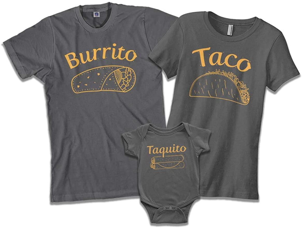 Burrito Taco Taquito   Dad Mom Baby Matching Family Shirts Set