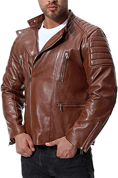 Missmao Herren Vintage Bikerjacke Übergangsjacke Kunstleder Klassisch Gutaussehend Bekleidung