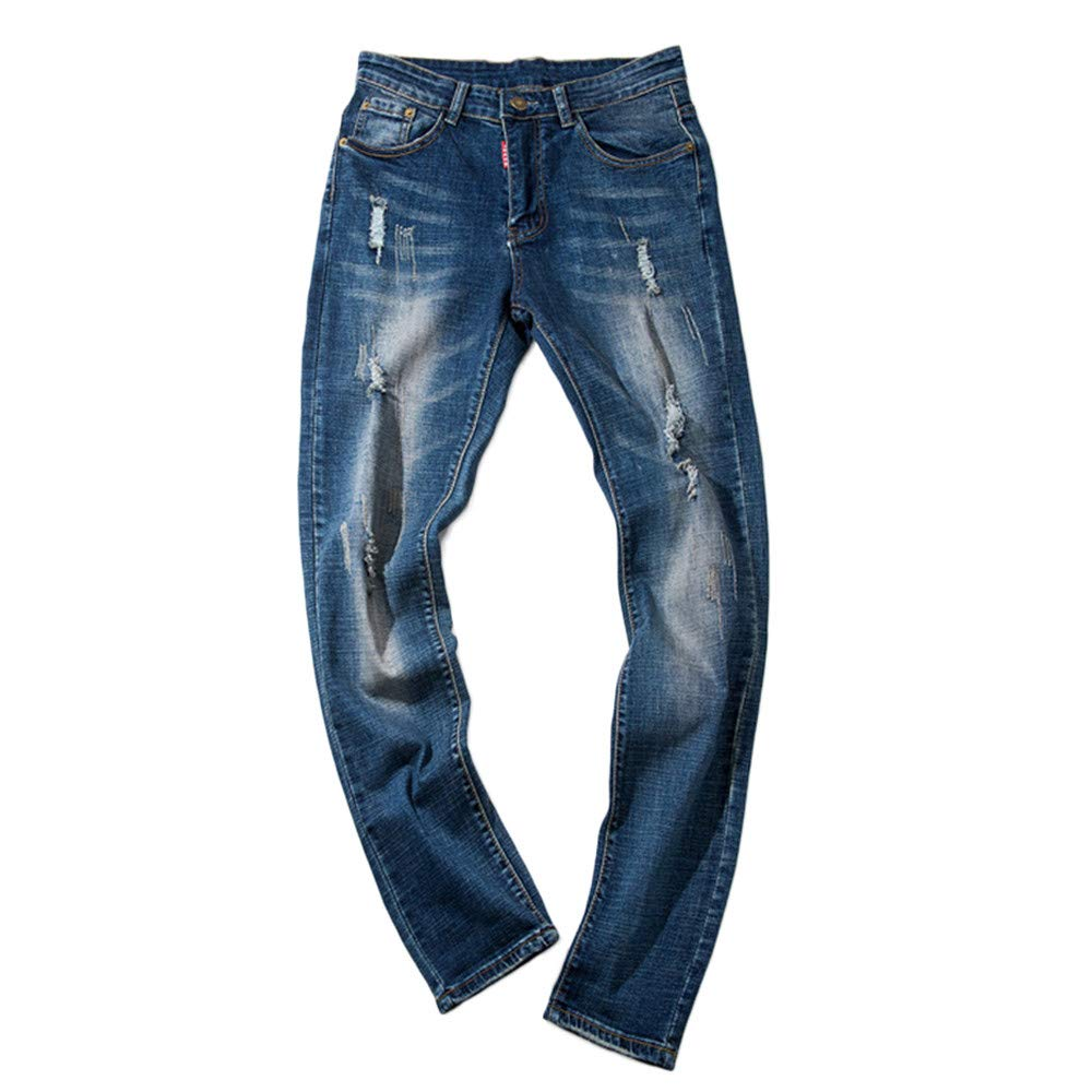 Creazrise Men's Ripped Big-Tall Modern Series Custom-Fit Relaxed Straight-Leg Jean (Blue,XL)