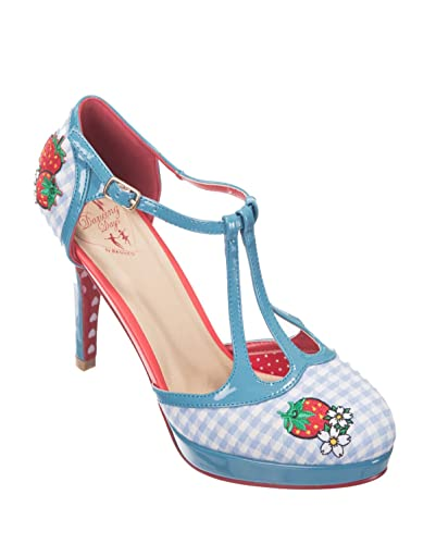Dancing Days LEAH Vintage 40s T-Strap Pin Up Gingham Pumps HIGH HEELS