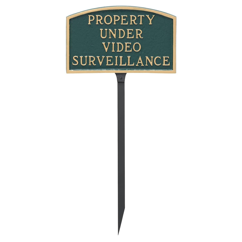 Montague Metal Products 5.5'' x 9'' Arch Property Under Video Surveillance Statement Plaque with 23'' Lawn Stake by Montague Metal Products