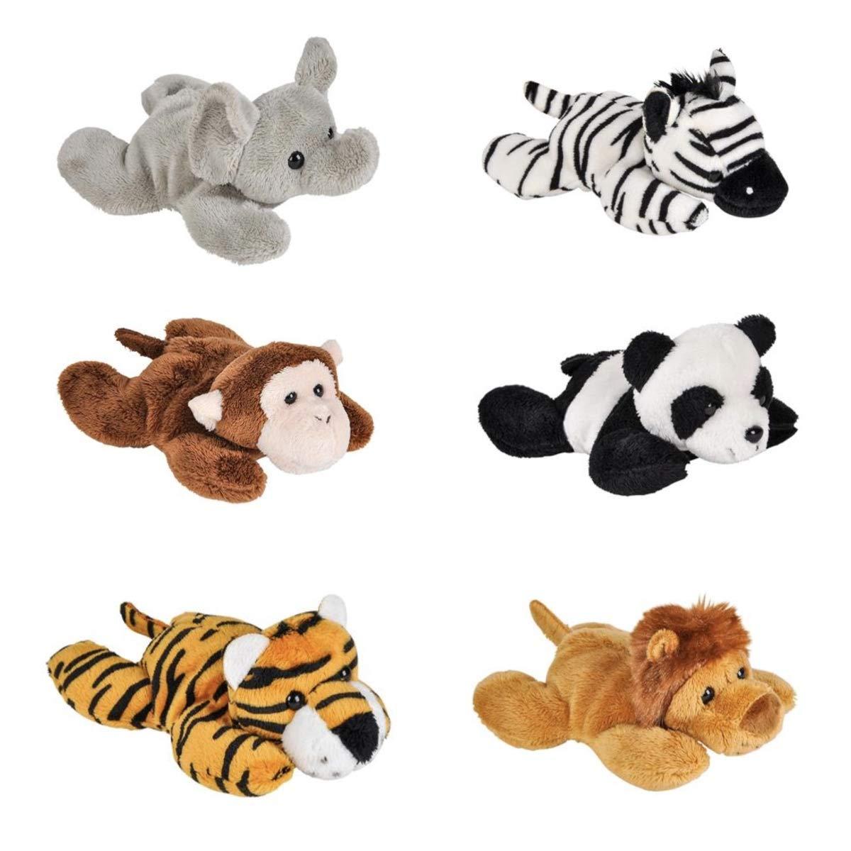Adventure Planet - Six (6) Zoo Animal Mini 5'' Plush Animals - Monkey Elephant Lion Tiger Zebra & Panda - Party Favors Stocking Stuffer - Gift Stuffed with Beans Toys Jungle Safari by Adventure Planet