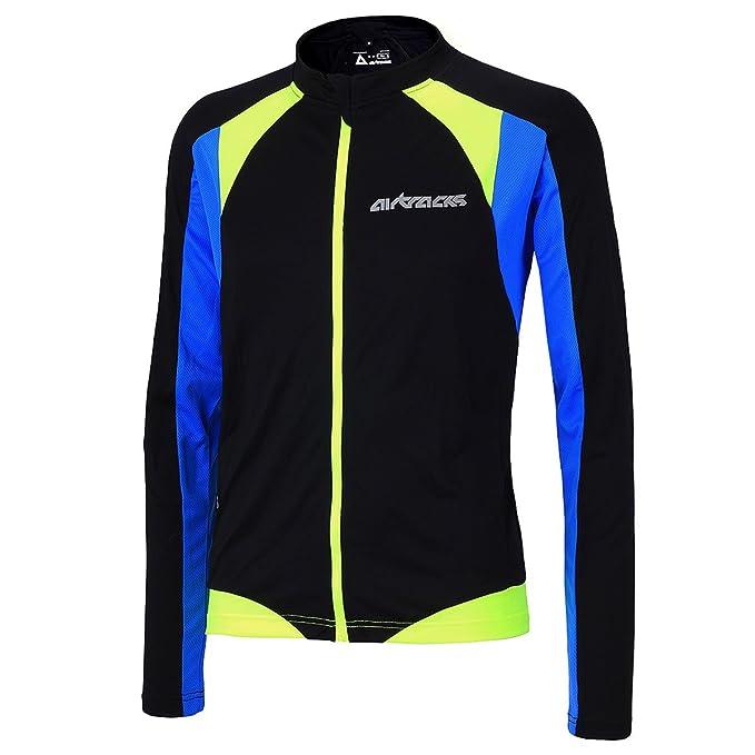 Camiseta de ciclismo de manga larga con colores neón