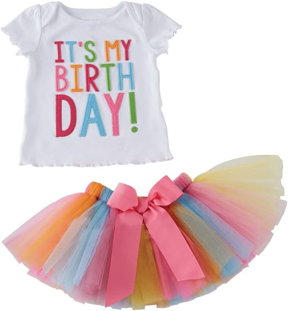 Puseky Toddler Baby Girls Birthday T-shirt+Rainbow Mesh Tutu Skirt Outfit Set 1-2 Years