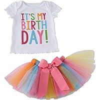 Conjunto de ropa de bebé Puseky con falda de tul de colorines y camiseta que dice «It's my birthday» (en inglés…
