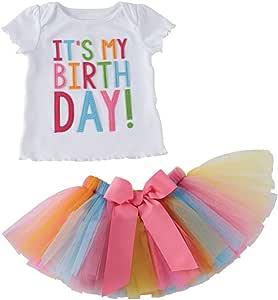 Conjunto de ropa de bebé Puseky con falda de tul de colorines y camiseta que dice «Its my birthday» (en inglés). multicolor multicolor Talla:1-2 años