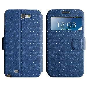 Be-Star Diseño Impreso Colorido Slim Casa Carcasa Funda Case PU Cuero - Stand Function para Samsung Galaxy Note 2 II / N7100 ( Blue Patterns )