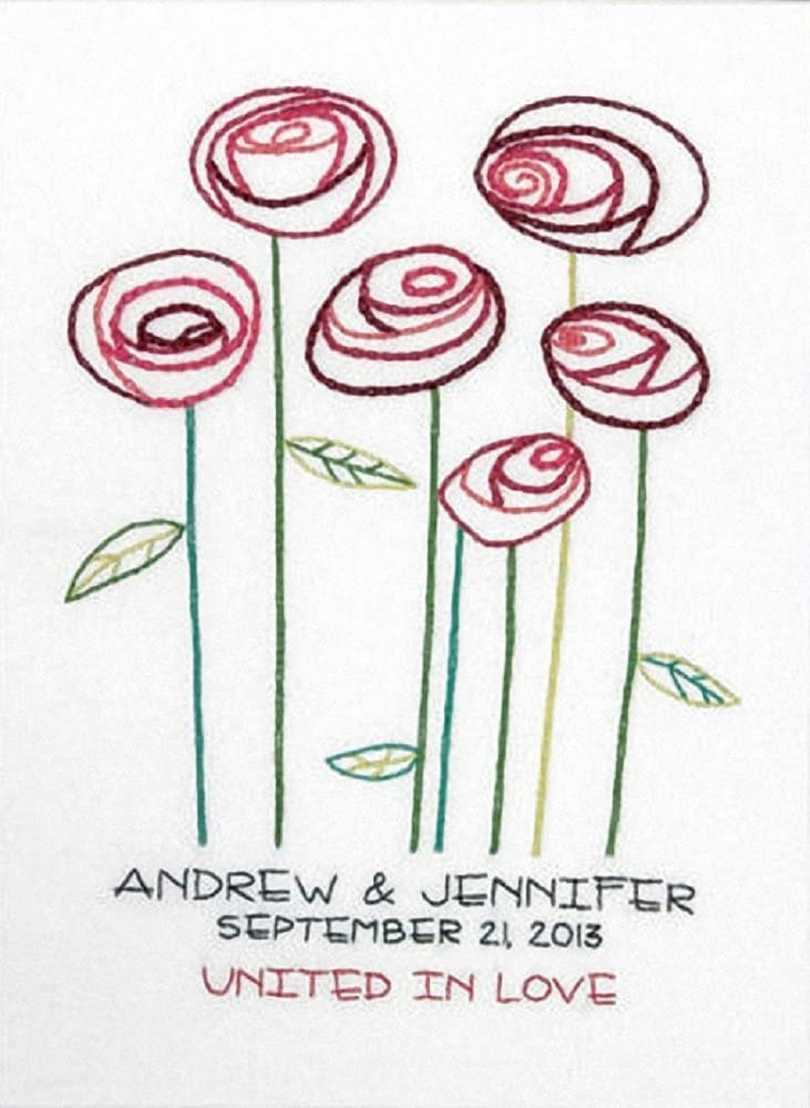 Dimensions Needlecrafts Embroidery Kit, Simple Roses Wedding Record