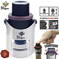 Bar Amigos Champagne Pressure Stopper Saver Pump Sealer Preserver With Patented Technology And Innovative Date Reminder Switch To Keep Your Bottle of Champaign Sparkling Wine Fresh for 7 Days Plus