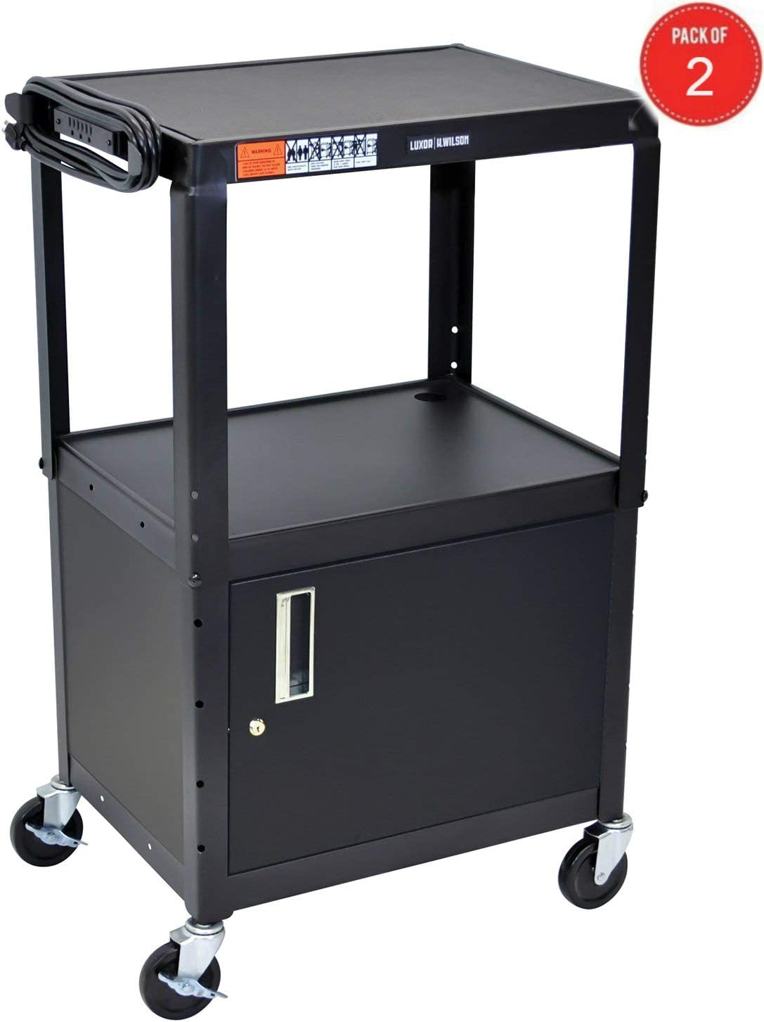 Luxor Multipurpose Adjustable Height Steel A V Utility Cart with Cabinet – Black
