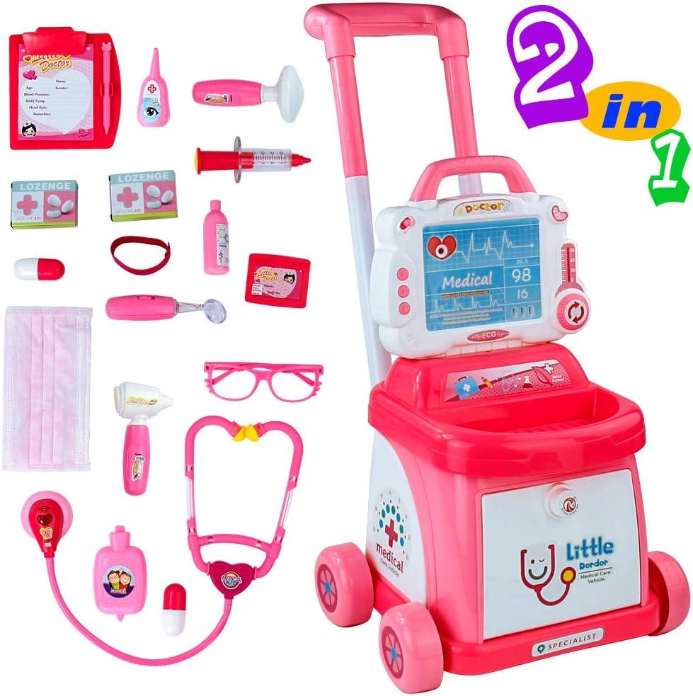 Carrito Medico Juguete Maletin Medicos Juguete para Niños y Niñas 3 4 5 años Doctora Juguetes Incluye 18 Accesorios Luces y Sonidos