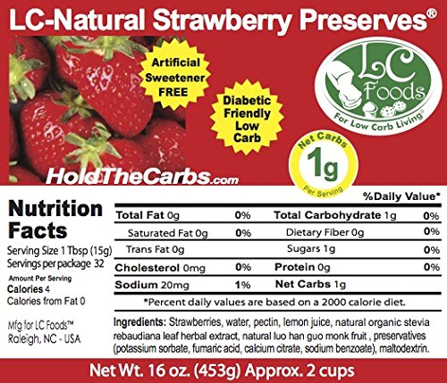 Low Carb Strawberry Preserves - LC Foods - All Natural - No Sugar Added - Paleo - Gluten Free - Diabetic Friendly - Low Carb Jam - 16 oz
