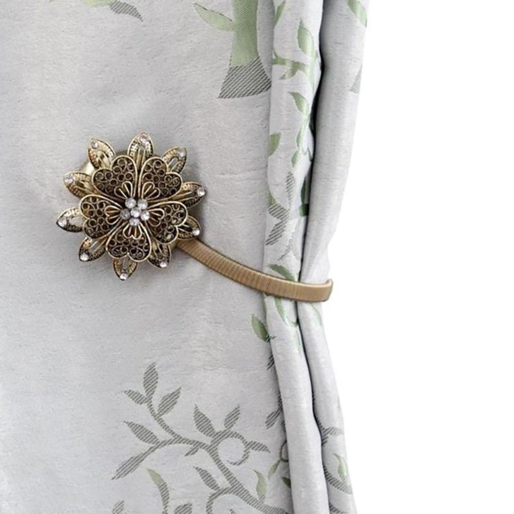 SoundsBeauty Curtain Holder Decoration Tie Back Rhinestone Flower Magnetic Retractable Clip - Golden Geshiintel