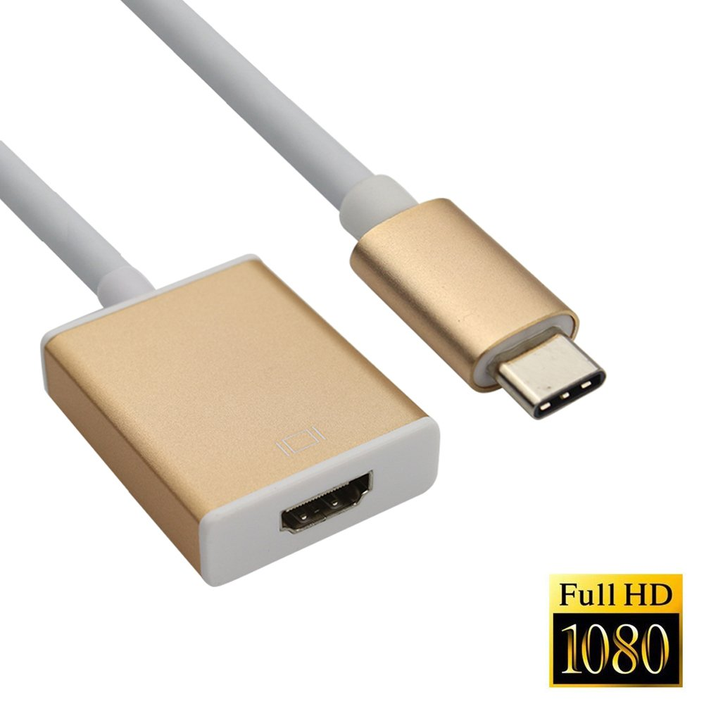 NAMEO Type-C USB 3.1 to HDMI Adapter Cable 1080P USB-C HDTV Adapter Cable for Apple New Macbook (2015), Google Chromebook Pixel, Asus Zen AiO, Surface Pro 4, Lumia 950/950XL etc (Golden)