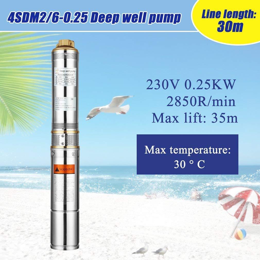 4 Zoll Tiefbrunnenpumpe Edelstahl 1500W 7.6 bar bis 4000 l//h F/ördermenge mit 30m Kabel und Pumpensteuerung