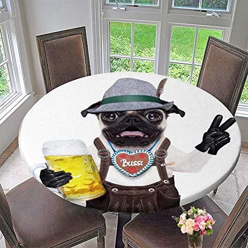 PINAFORE HOME Elasticized Table Cover Silly Crazy Pug Dog Dressed up as Bavarian with gerbread as Collar Isolated on White Machine Washable 31.5