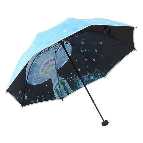 Anti-uv Compacto de sombrillas,Viaje Paraguas plegable,Paraguas de sol y lluvia