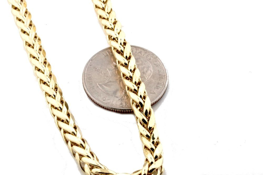 Midwest Jewellery 10K Gold Wheat Chain Palm Chain Necklace Womens or Mens Real Gold 3.5mm (26) by Midwest Jewellery (Image #5)