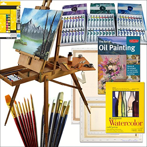 Hardwood French Art Easel with Comprehensive Artist Quality Painting Supplies Set All Medium by Online Art Supplies