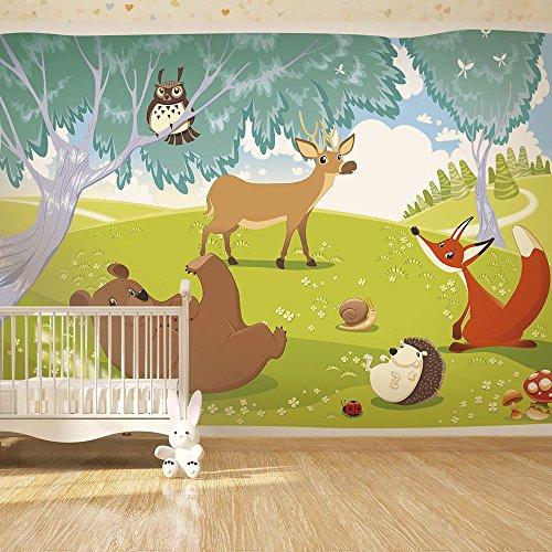 Vlies Fototapete 300x210 cm ! Top - Tapete - Wandbilder XXL - Wandbild - Bild - Fototapeten - Tapeten - Wandtapete - Wand - für Kindertapete Kinderzimmer Kinder Wald Tiere e-A-0031-a-a