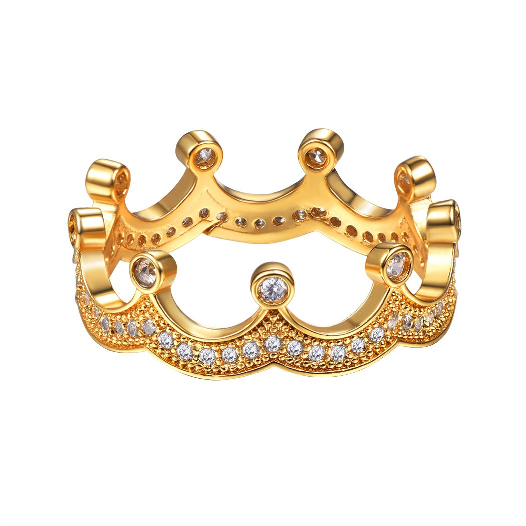 Princess Crown Ring For Women/Teen Girls Engagemnet Ring Valentines Gift Simple CZ Crown Ring Gold Plated Size 8