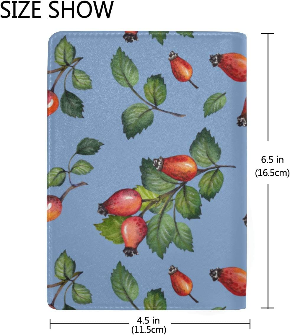 Red Rosehips Berries And Green Leaves Blocking Print Passport Holder Cover Case Travel Luggage Passport Wallet Card Holder Made With Leather For Men Women Kids Family