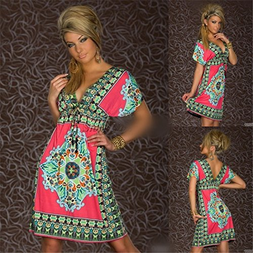 Fashion Cute Retro 1960S 1970S Vintage Paisley Print V Neck Hippie Bohemian Spring Summer Dress Shirt Women Beach Dress Size M - 70s Hippie Dress