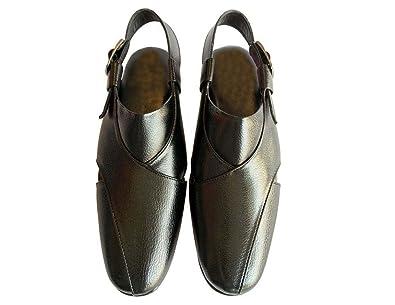 e31ad71246fe Step n Style Men Sherwani Khussa Shoes Pishori Sandals Pakistani Sandal  Flat Jooti Black  Buy Online at Low Prices in India - Amazon.in