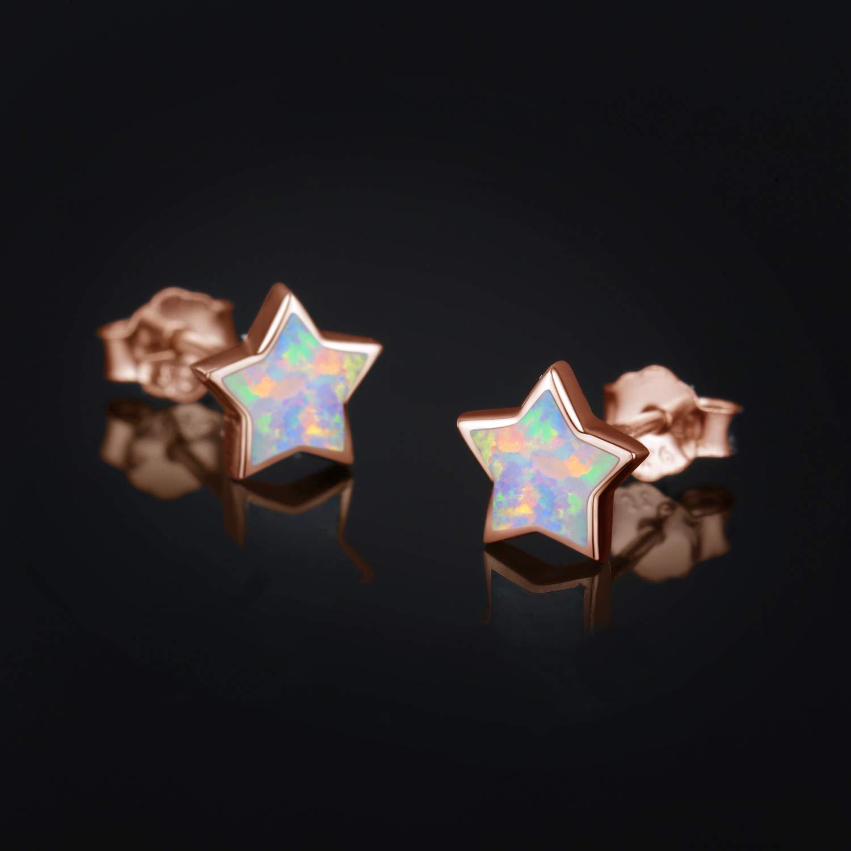 Kindertag Ohrringe Sterne Silber 925 Sterling Silber Opal Ohrringe Knorpel Ohrringe f/ür Frauen Stern Ohrringe Silber M/ädchen