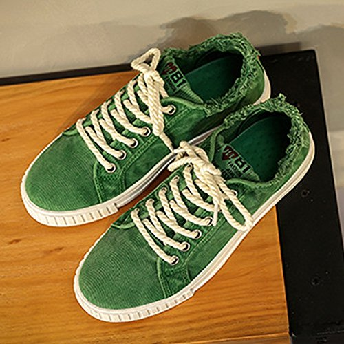 Casual Green Piatte Top Scarpe Canvas Low Uomo Denim up Unisex da Cricket Lace Style Scarpe Sportive da Lovers TdqqRgUn