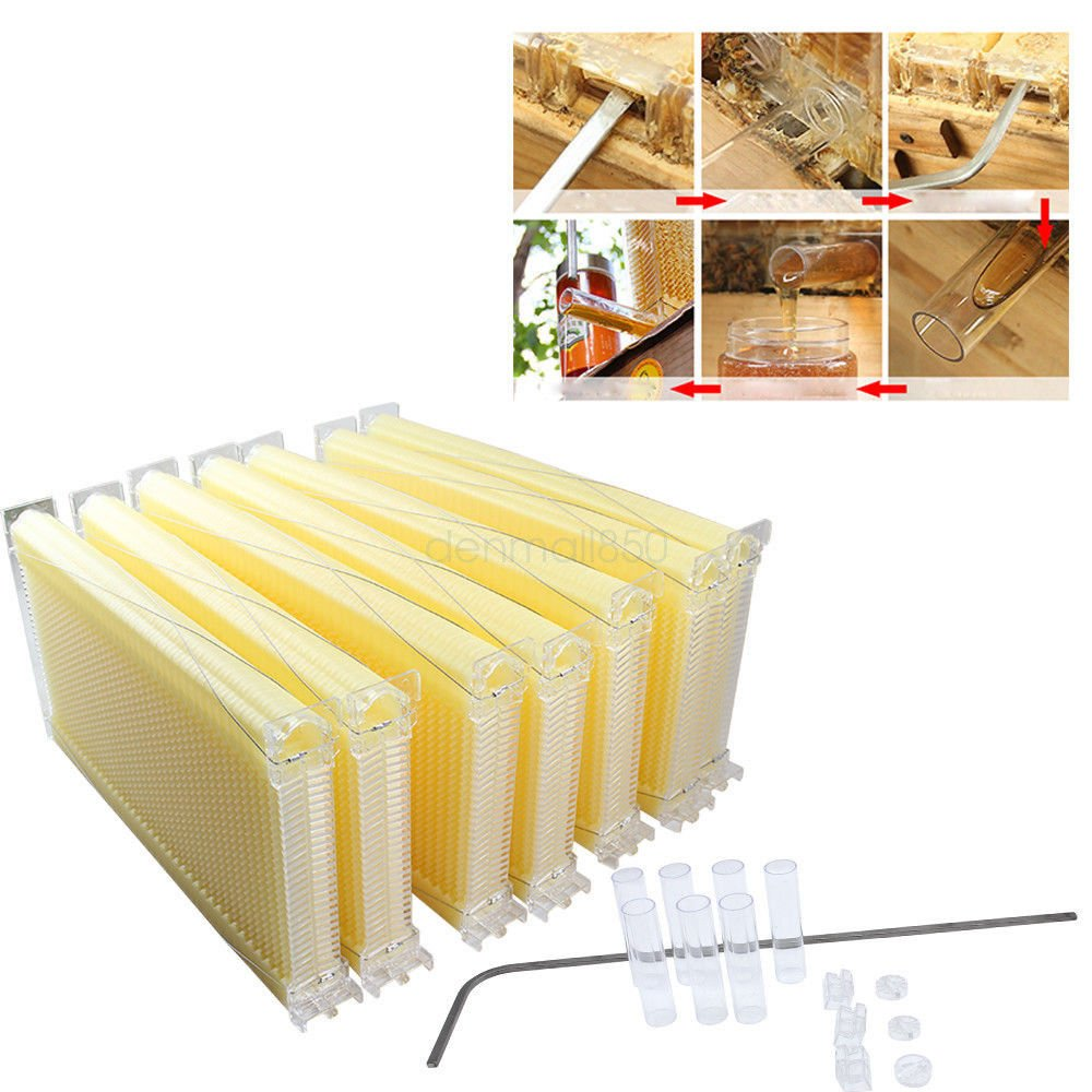 7Pcs Auto Flow Comb Beehive Frames Kit Raw Frame Honey Beekeeping Beehive Hive Frames Harvesting With 7 Harvest Tubes and a Harvest Key for Beekeepers by GADE10