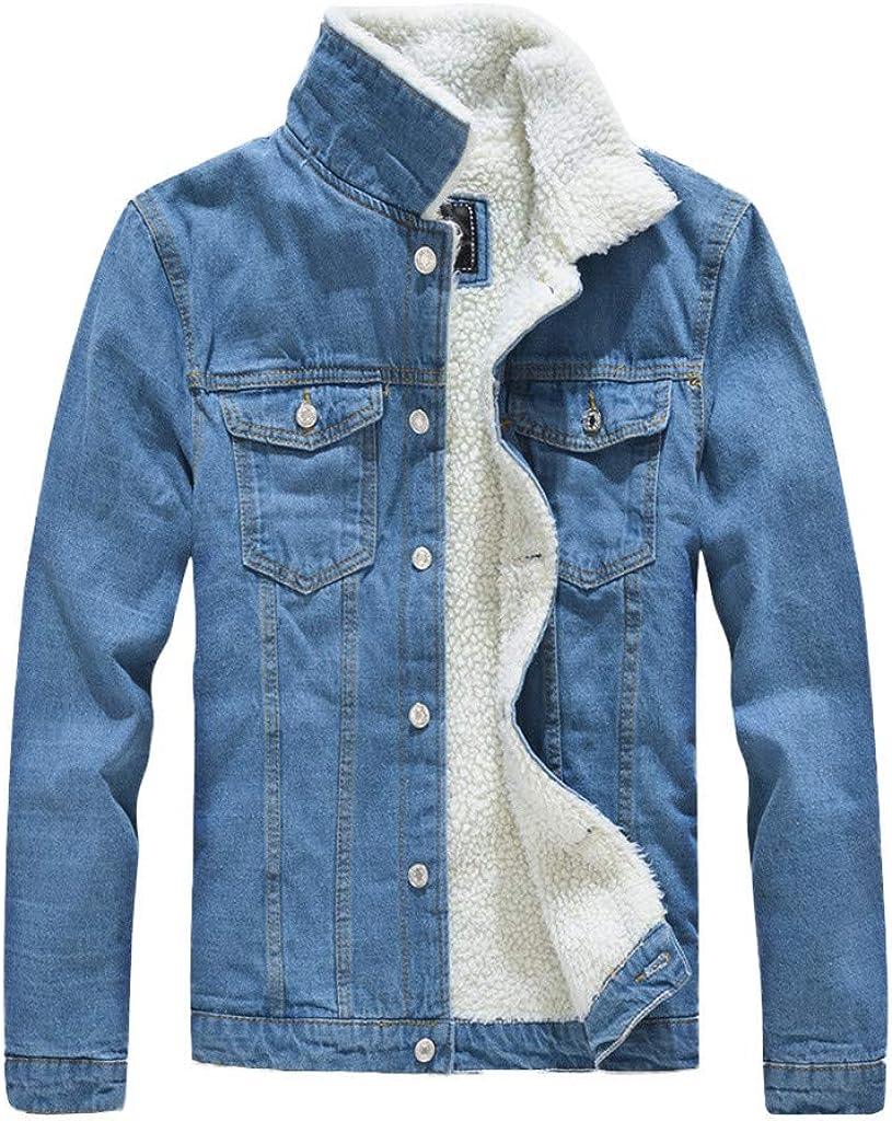 ARTFFEL Men Warm Fleece Winter Button Down Plus Size Quilted Jacket Coat Outerwear