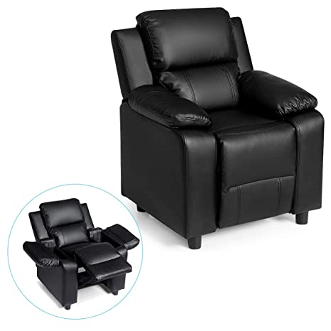 Costzon Kids Sofa Recliner, Children PU Leather Armchair W/Front Footrest, Flip-up Storage Arms, Padded Backrest, Ergonomic Contemporary Sofa for ...