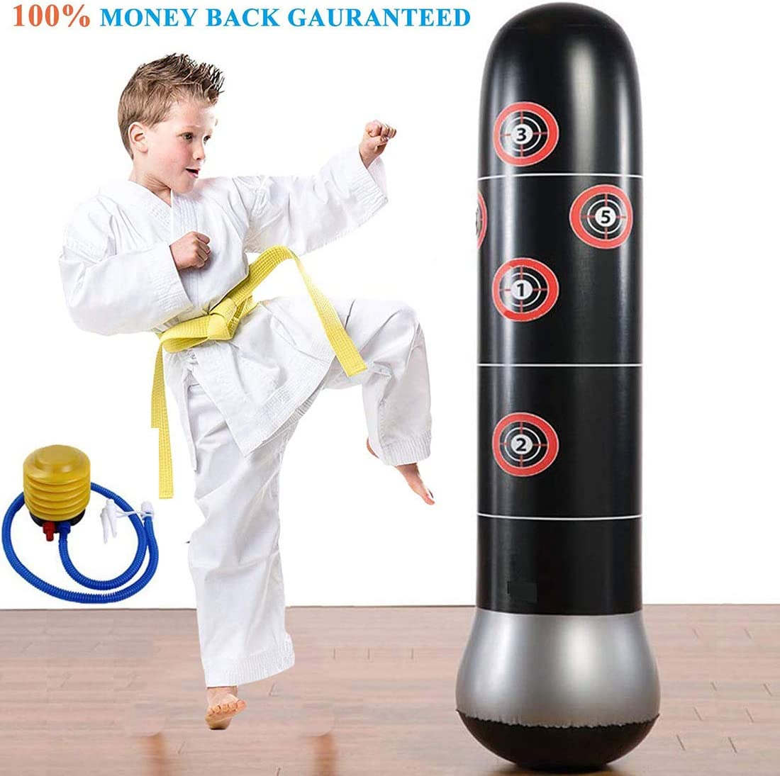 Eforoutdoor Fitness Punching Bag Heavy Punching Bag Inflatable Punching Tower Bag Freestanding Children Fitness Play Adults De-Stress Boxing Target ...