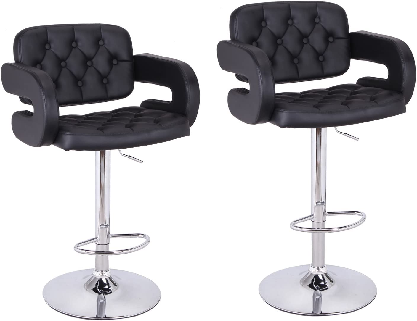 ELEGAN Arm-Rest Leatherette Adjustable Low Cut Out Back Barstool Chair Set of 2