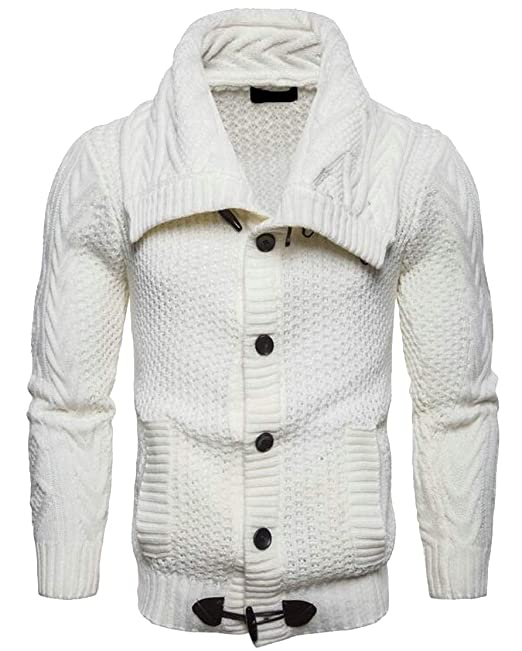 a5f74f0b8 M S W Mens Sweaters Casual Turtleneck Cable Knit Button Down Cardigans Top  ...