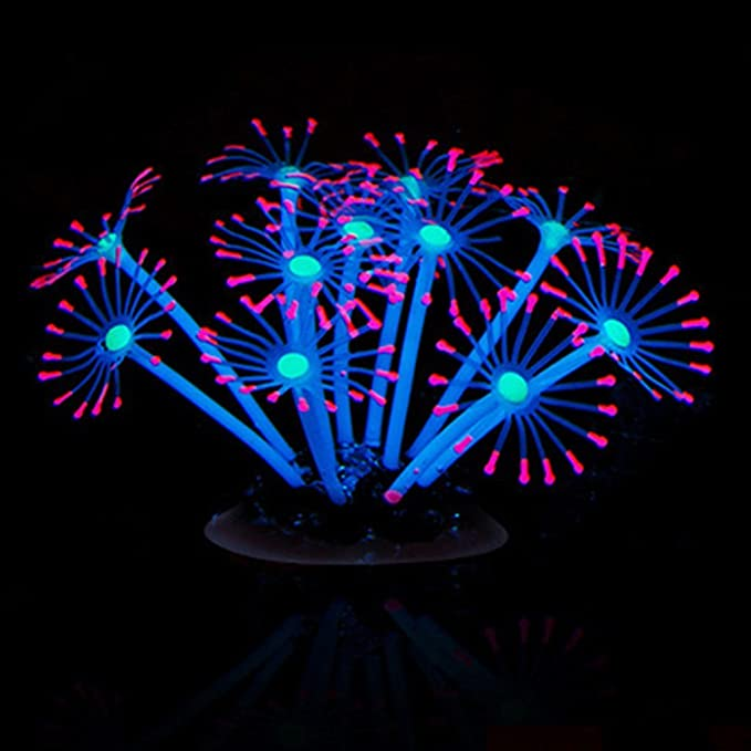 Naisicatar - Hermoso adorno de coral artificial brillante para decoración de acuario de peces, silicona de limpieza sencilla y segura para agua dulce y ...