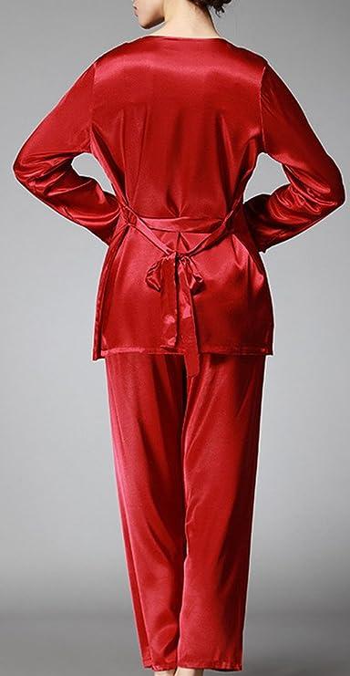 bcbc626c20 Foucome Women s Long Sleeves Pajama Sets Satin Silk Lace Stitching Pyjamas  with Belt Three Piece Set at Amazon Women s Clothing store