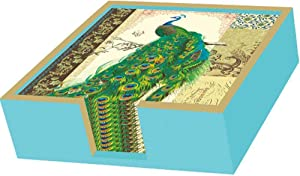 Paperproducts Design Lacquer Wood Beverage Paper Napkin Caddie-Set 1, Aqua with Gold Trim Design