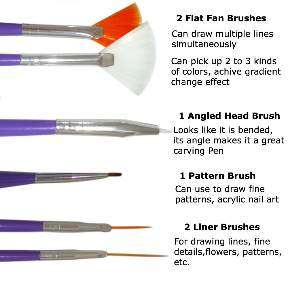 Amazon.com : Nail Art Brushes, Dotting Pens Marbling Detailing ...