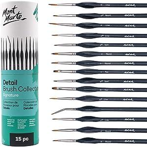 Mont Marte Signature Detail Brush Collection, 15 Piece, Taklon Bristles, Suitable for Acrylic, Oil, Watercolor and Gouache Paints, Includes Storage Bag